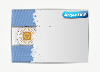 Stitched Argentina flag with grunge paper frame for your text.