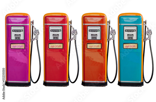 several color of old classic oil distributor in gasoline station