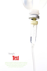 Infusion bottle with IV solution on white background with copy s