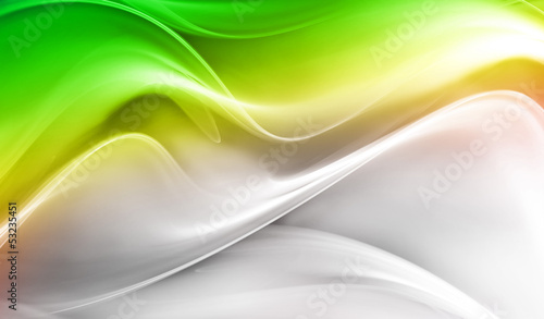 Abstract elegant green and white waves
