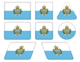set of buttons with flag of San Marino