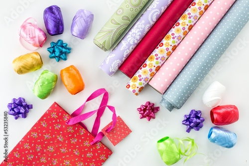 gift wrap paper and ribbon