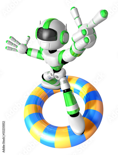 3d Green robot character surfing on lifebuoy. Create 3D Humanoid