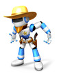 3D blue Robot Sheriff is taking pose a gunfight. Create 3D Human