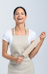 Baker pastry chef with rolling pin