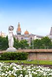 Spain. Barcelona. Fountain in placa de Catalunya poster