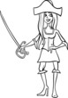woman pirate cartoon for coloring book