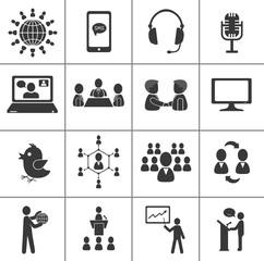 Set of communication icons.