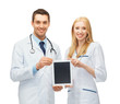 young doctors showing tablet pc
