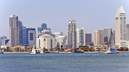 San Diego skyline and sailboats.