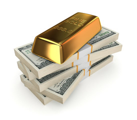 Goldbar on a stack of dollars.