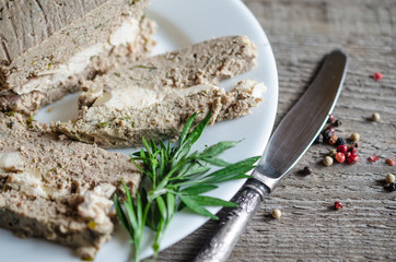 Chicken liver terrine with turkey breast and mushrooms