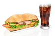Tasty ham sandwich and glass of cola with ice isolated on white