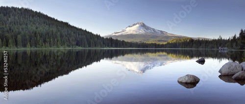 Mt Hood Reflection on Trillium Lake Panorama