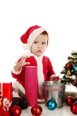 surprised little santa girl