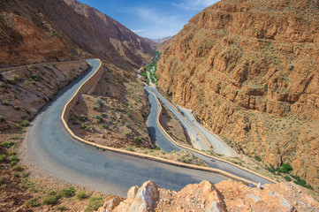 Winding road in Dades gorge, Morocco