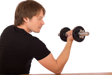 Man make exercise with dumbbell