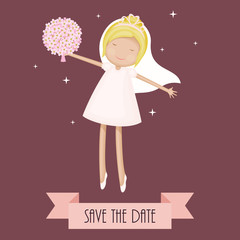 Funny cartoon bride dancing with flowers. Save the date card