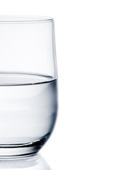 half glass of pure water with space for text