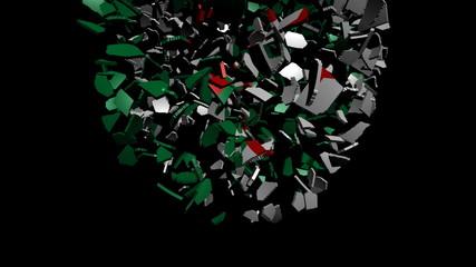 Algeria flag sphere converging animation