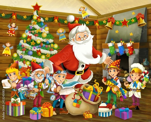 The santa claus with helping dwarfs