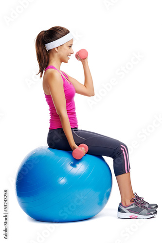 healthy dumbbell woman