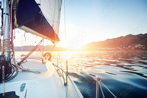 sailing yacht ocean boat sunrise - 53243468