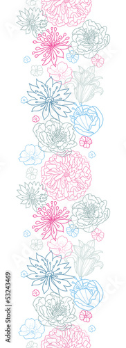 Vector gray and pink lineart florals vertical seamless pattern