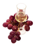 grappa glass with grapes bunch