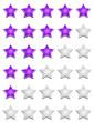 Violette Sterne Bewertungssystem