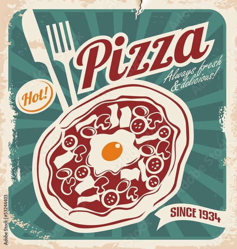 Retro pizzeria poster on old paper texture.