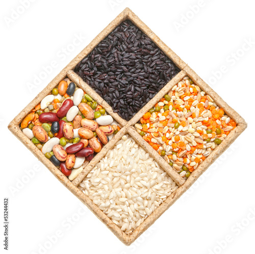 Rice, beans and lentils isolated on white background