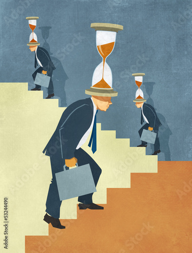 Time Pressure and Competition Stress on Businessmen Illustration