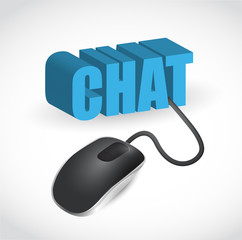 chat sign and mouse illustration design