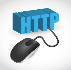 http sign connected to mouse illustration