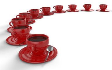 Rote Kaffeetassen im Kreis 2