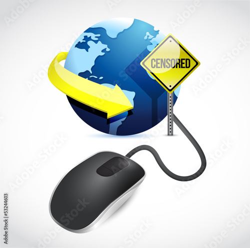 censored connection concept sign and mouse
