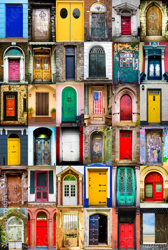 Poster Colorful collage of variety of doors