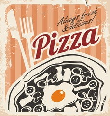 Vintage pizza poster on old paper texture