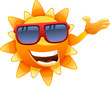 happy sun character showing