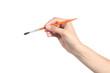 Leinwandbild Motiv Woman hand using a little paintbrush