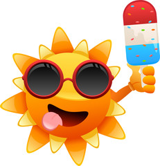 happy sun character with ice cream