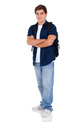 young high school student with arms folded