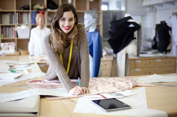 Fashion designer working in the studio