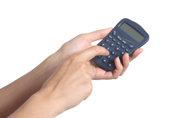 Woman hands using a calculator