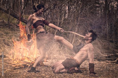 Poster caveman and cavewoman