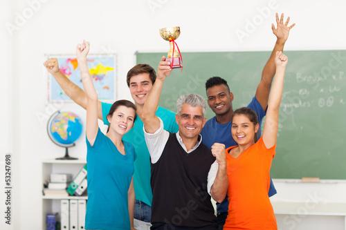 class wining a trophy