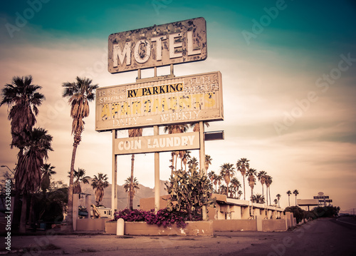 Poster Roadside motel sign - decayed iconic Southwest USA