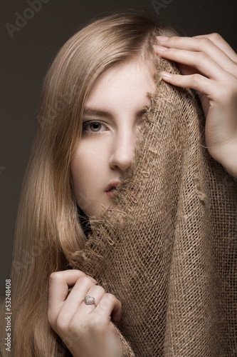 woman with gunny veil