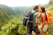 Couple in love kissing while hiking on Hawaii